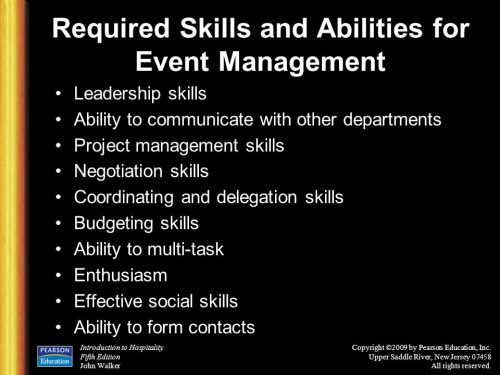Required Skills and Abilities of Event Managers