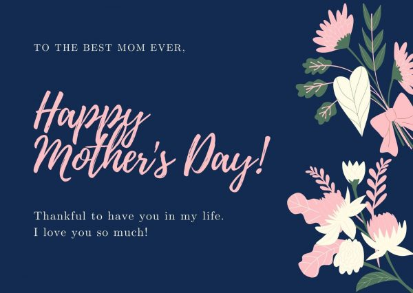 Blue floral mother's day cards with verses